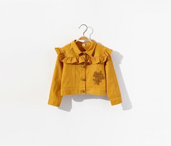韩版新款女童长袖外套时尚可爱荷叶边修饰玫瑰花刺绣图案小外套